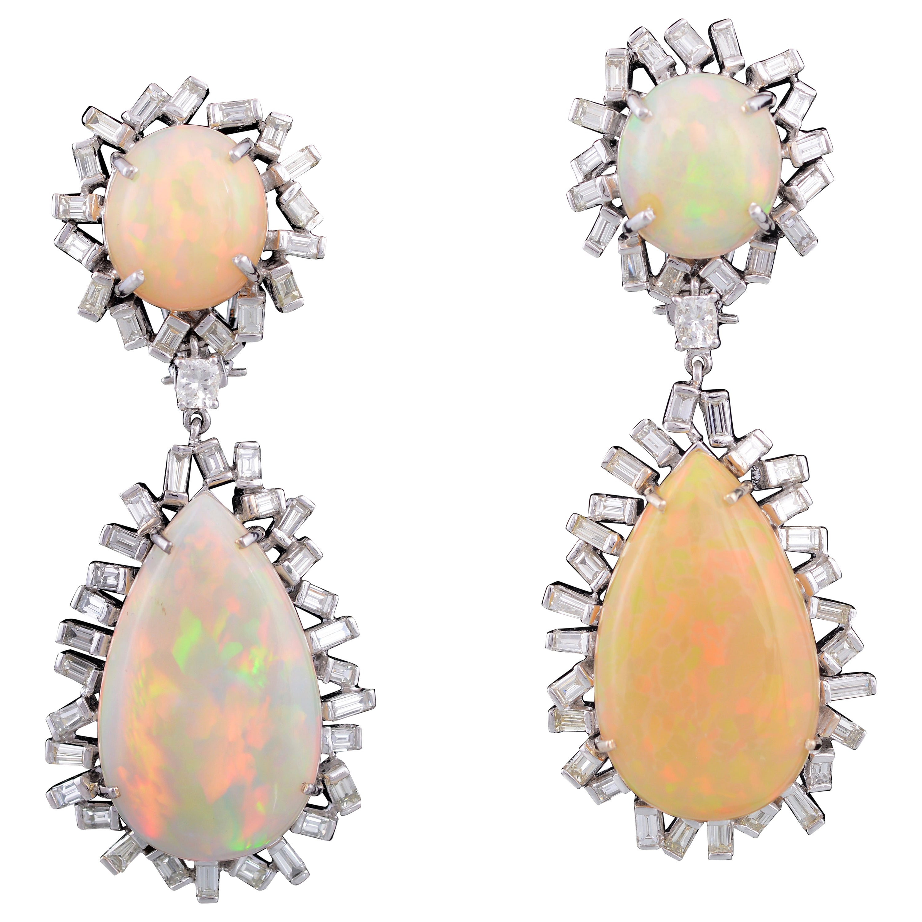 Mix And Match Deco Set In 18k Gold Art Deco Style Ethiopian Opal Baguette Diamond Drop Earrings