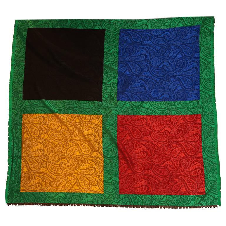 YSL Four-Colour Paisley Print Silk Scarf with Green Boarder For Sale