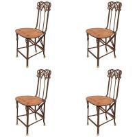 Set of Four Art Nouveau Cast Iron Folding Chairs with Wood ...
