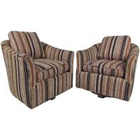 Pair Midcentury Barrel Back Swivel Lounge Chairs For Sale ...