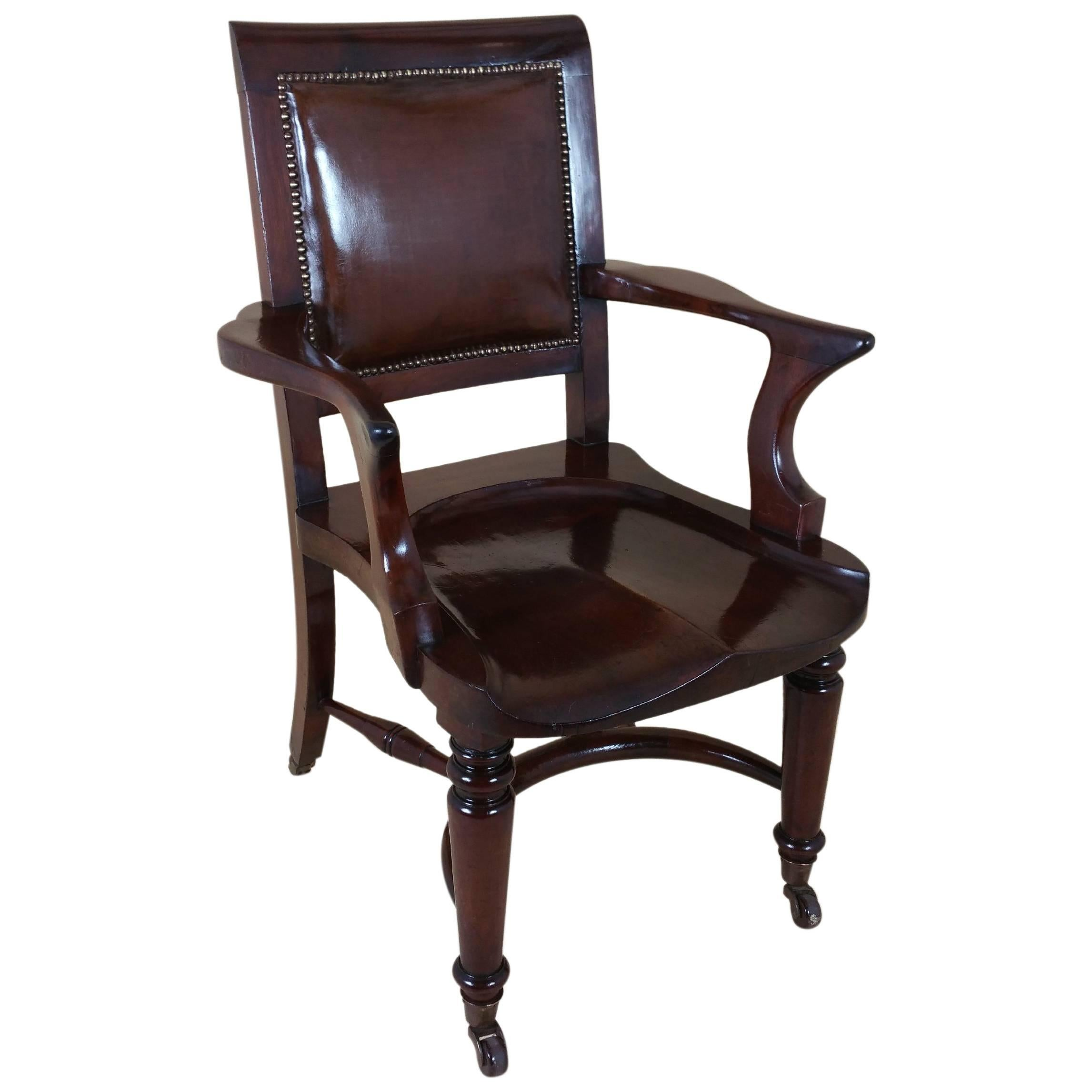 Desk Seat Victorian Mahogany Solid Seat Desk Chair With Leather Back