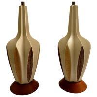 1950s Atomic Age Pair of Mid-Century Ceramic Table Lamps ...