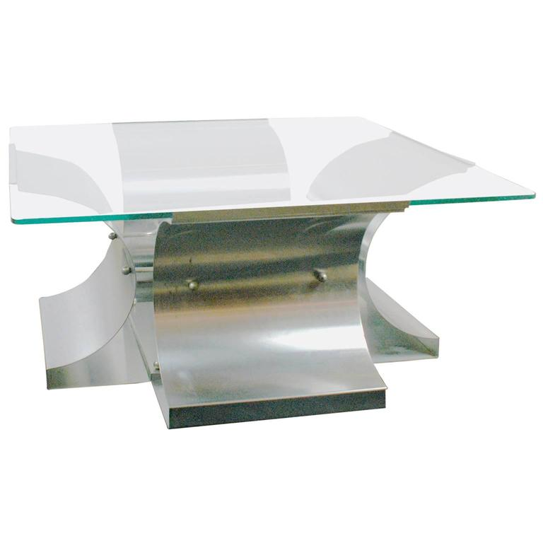 French Glass and Stainless steel Coffee Table by Francois