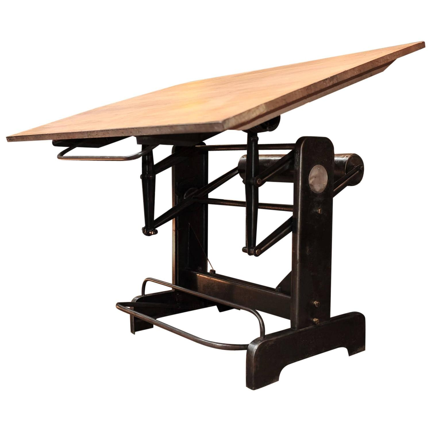 Adjustable Height Drafting Table Industrial Adjustable French Architect S Drafting Table 1950s