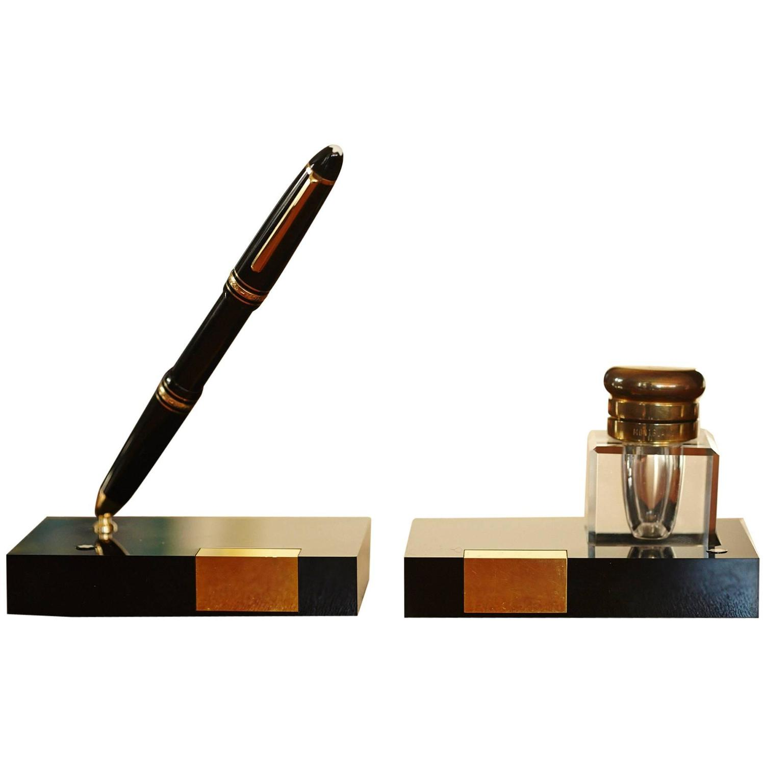 Pen And Holder Set Montblanc Writing Set Fountain Pen Holder And Crystal