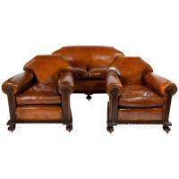 Magnificent Victorian Leather Sofa and Chairs Three-Piece ...