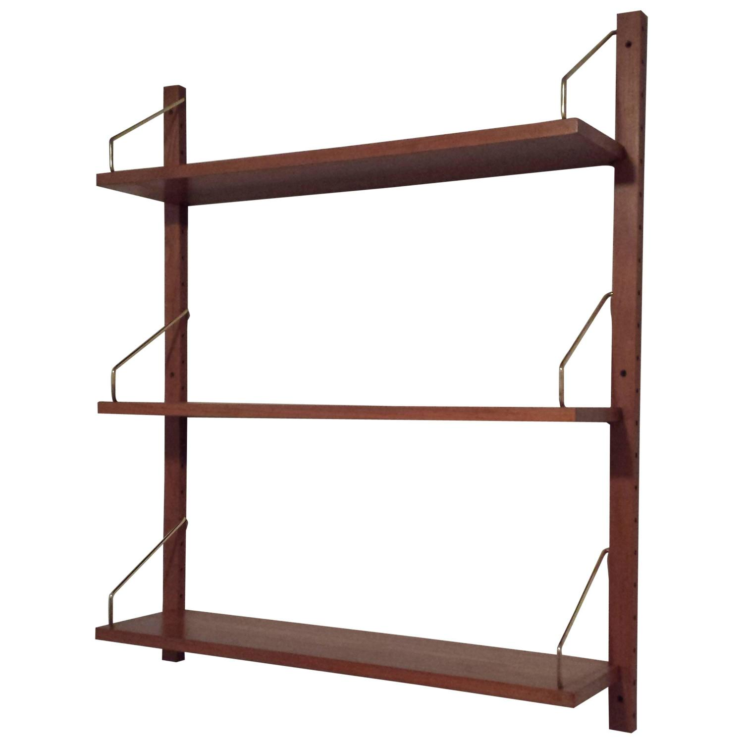 Adjustable Wall Shelf System Mid Century Danish Solid Teak Adjustable Three Shelf Wall
