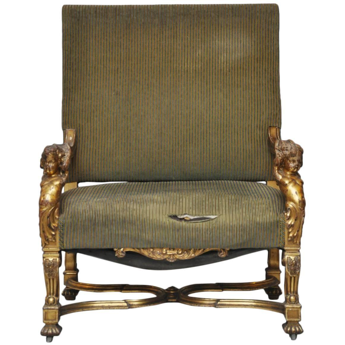 Louis The 14th Furniture Italian Louis Xiv Style Putti Gilt Chair For Sale At 1stdibs