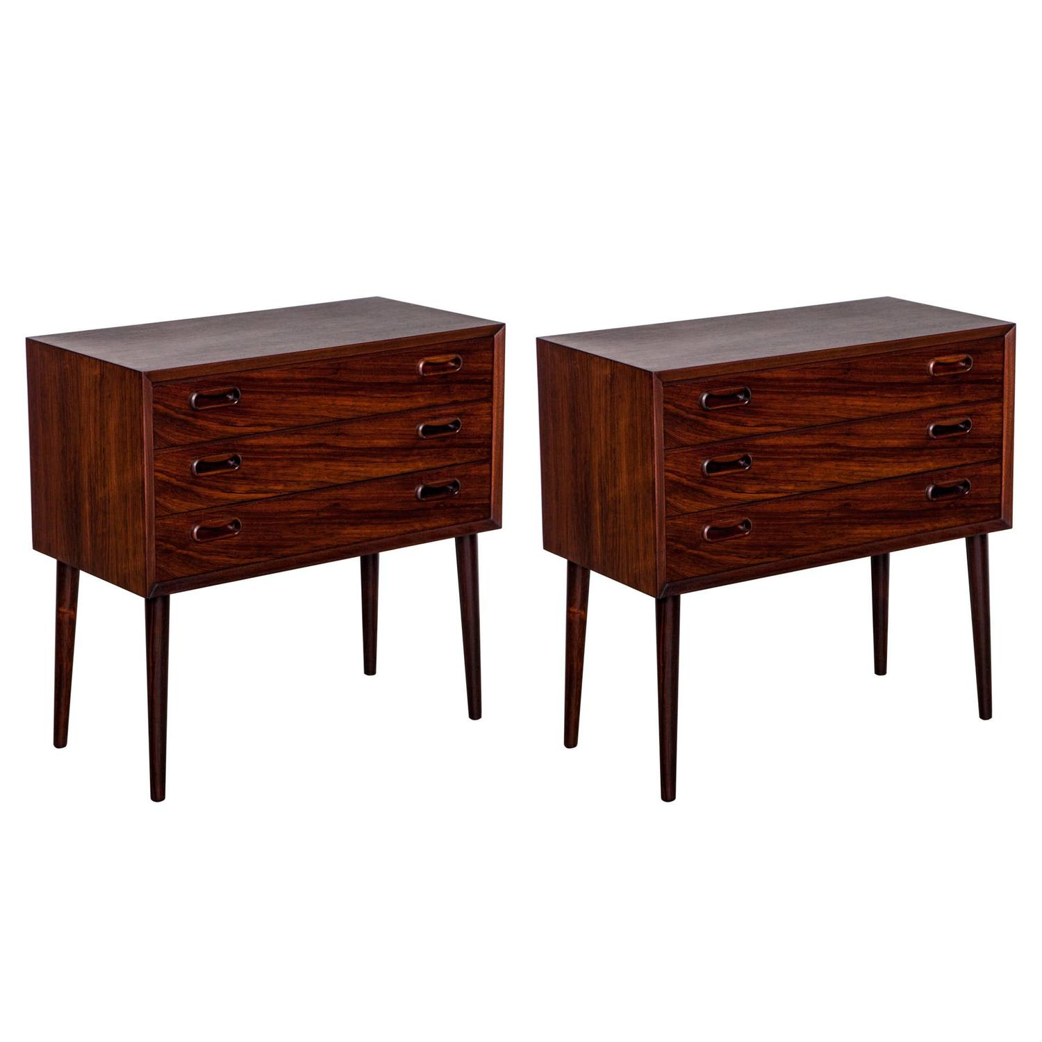 Danish Bedside Table Rosewood Danish Bedside Tables Pair At 1stdibs