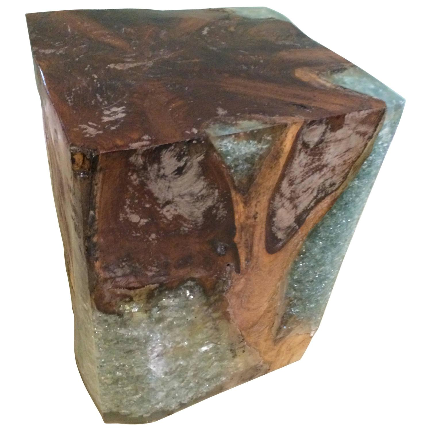 Wood Block End Tables Wooden Block Table With Resin At 1stdibs