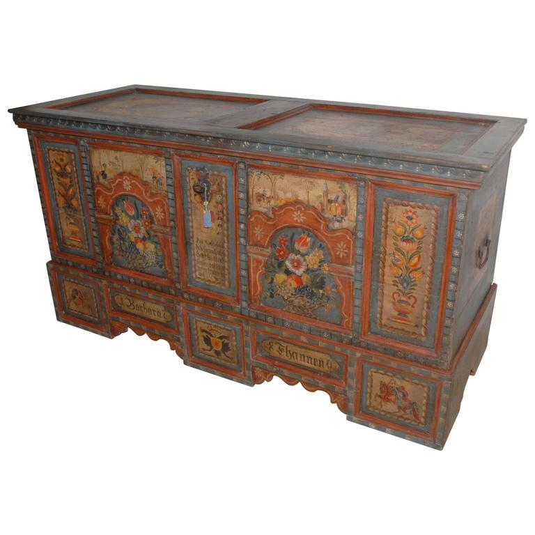 Buffet Cabinet With Drawers 18th Century Painted Marriage Chest At 1stdibs