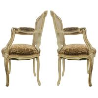 Louis XVI Style Fauteuil Chairs with Leopard Fabric at 1stdibs