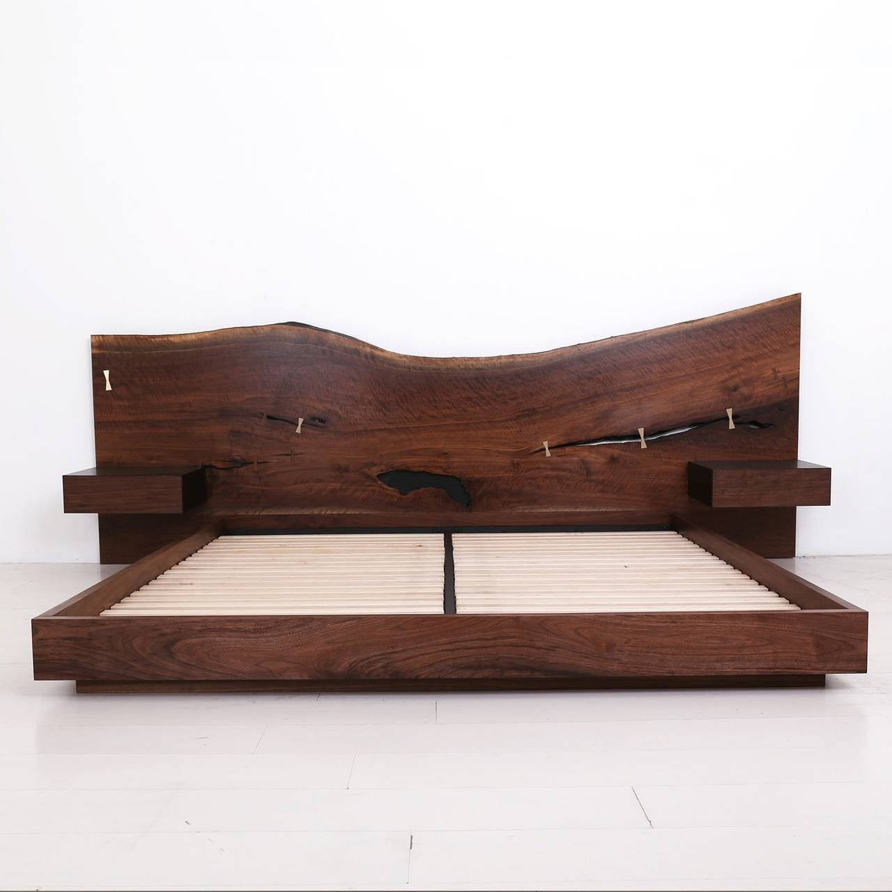 Bed Headboard St Pierre King Bed By Uhuru Walnut Slab Headboard And Built In Nightstands