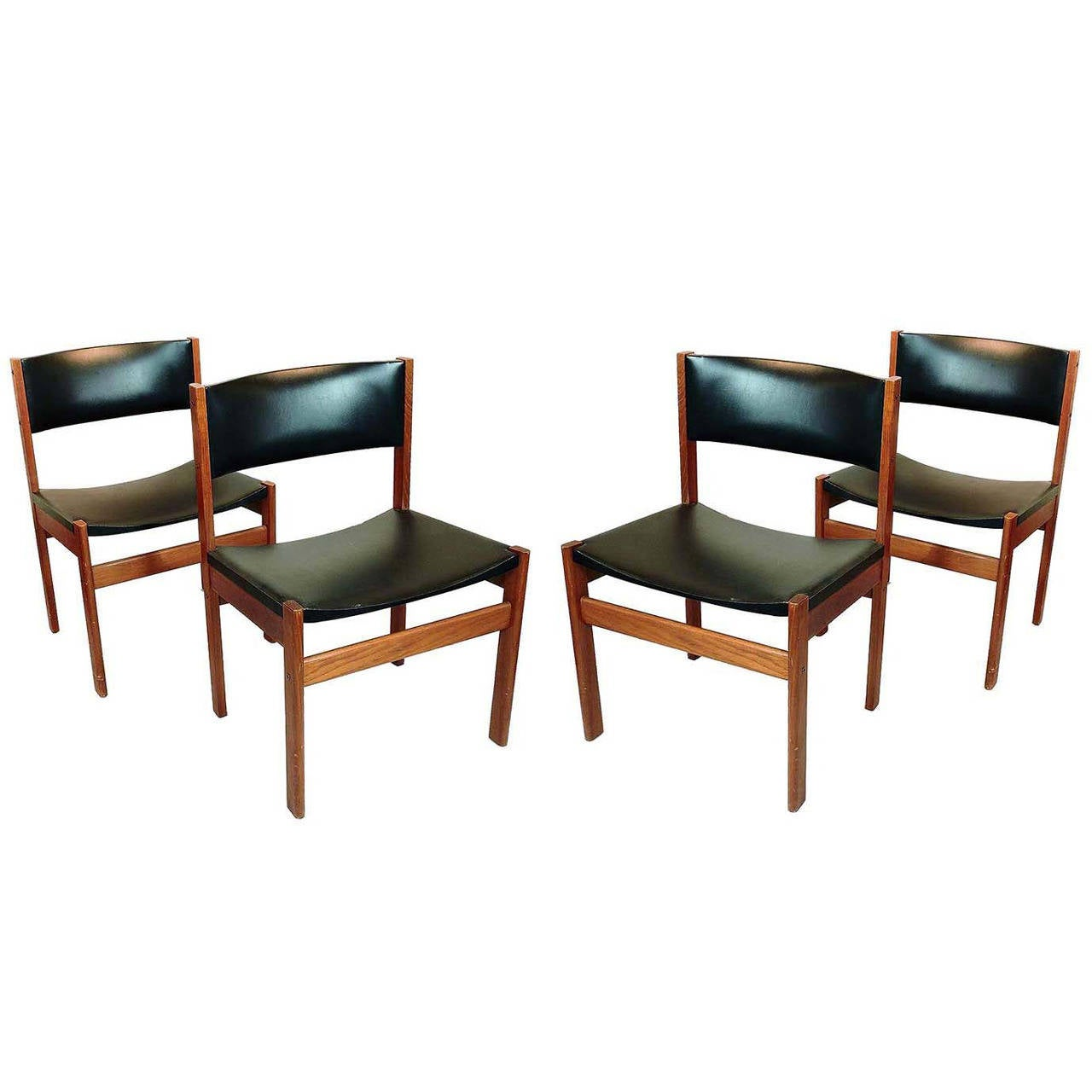 Danish Modern Dining Chairs For Sale Set Of Four Danish Mid Century Modern Teak And Leather Dining Chairs
