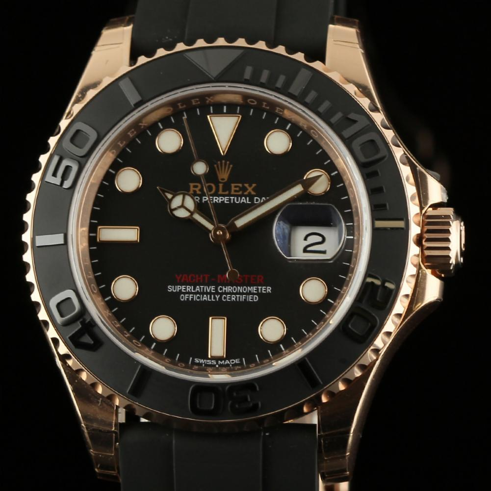 Rolex Rubber Rolex New Yacht Master 116655 Black 18k Everose Gold Rubber
