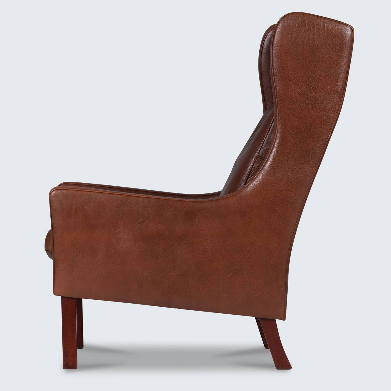 Arm Chair Side Brown Leather Chair Side View