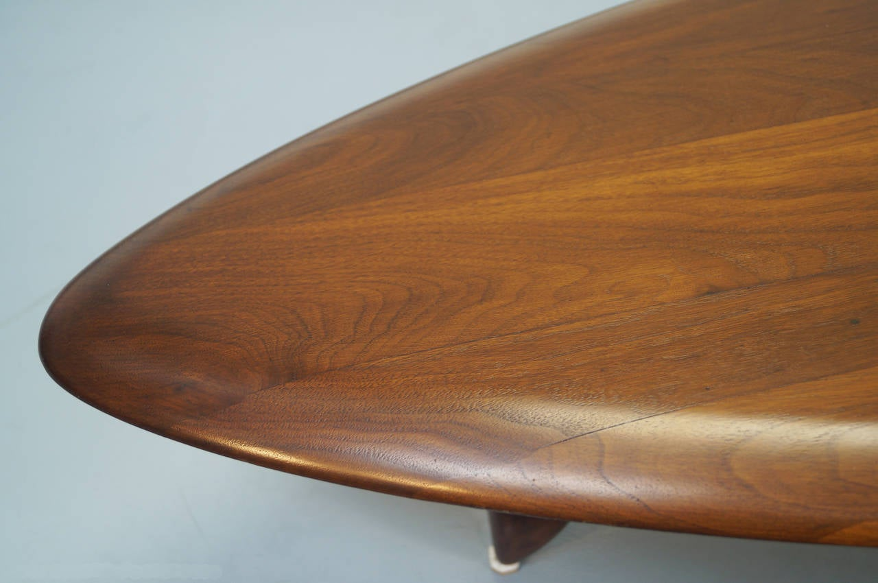 Surfboard Tables For Sale Vintage Walnut Surfboard Coffee Table By John Keal At 1stdibs