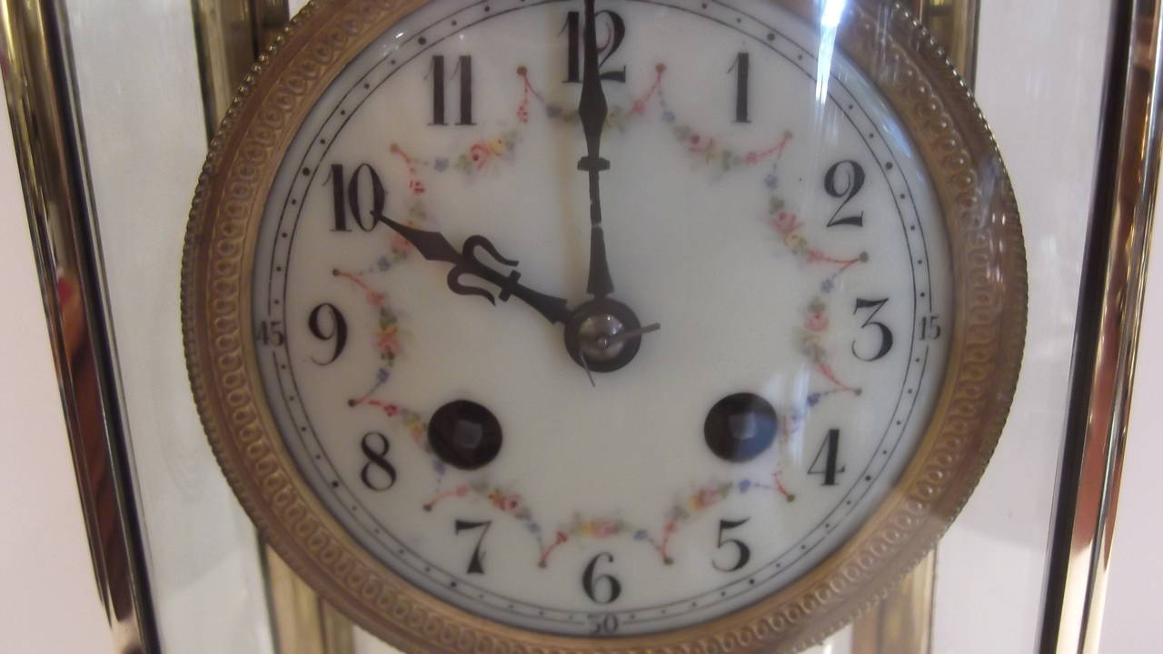 Oval Clock Face Graceful Oval French Crystal Regulator Clock With Hand Painted Enamel Face