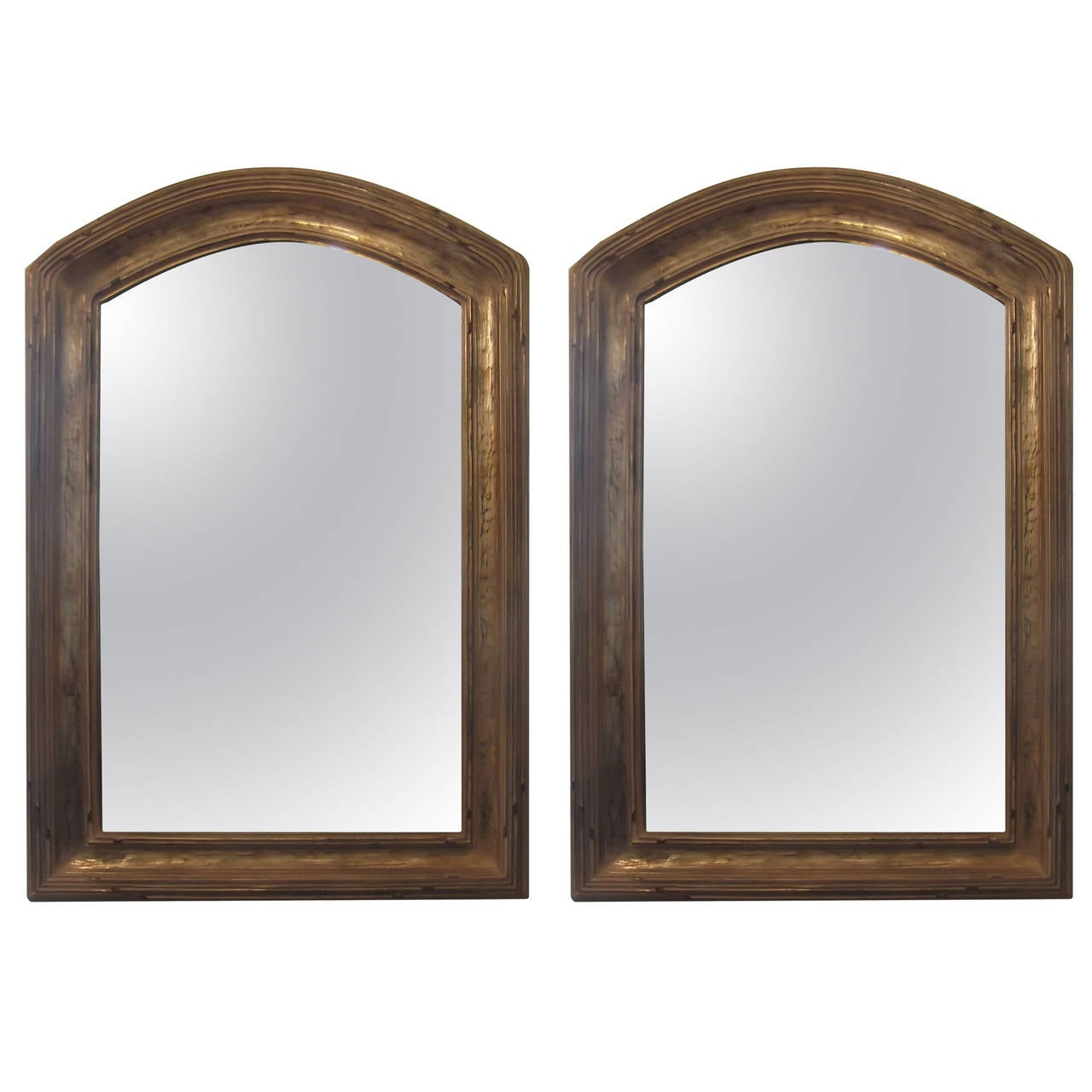 Pair of giltwood arched top mirrors 1