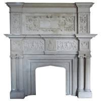 Large Indiana Limestone Tudor Revival Style Fireplace ...