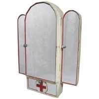 Art Deco Red Cross Medicine Cabinet and Mirror at 1stdibs