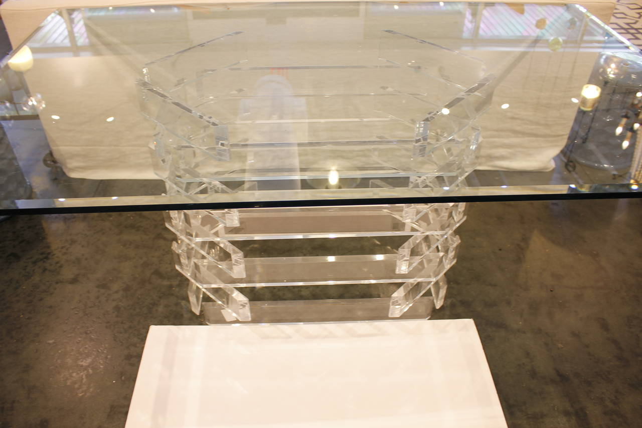 Lucite Base Dining Table With Thick Beveled Glass Top At