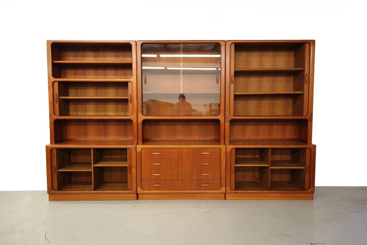Set Of Three Danish Teak Wall Unit Bookcase Shelving By