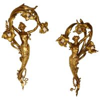 Fabulous Pair of Art Nouveau Style Bronze Sconces at 1stdibs