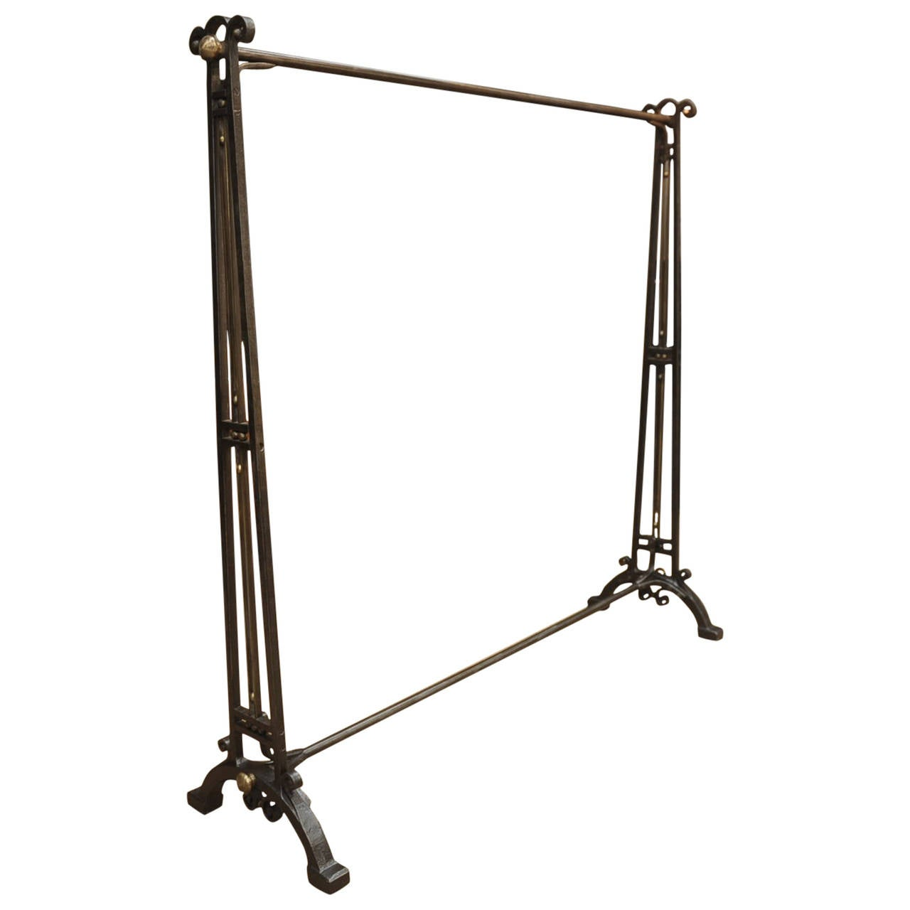 French Art Deco Wrought Iron And Brass Coat Rack Circa