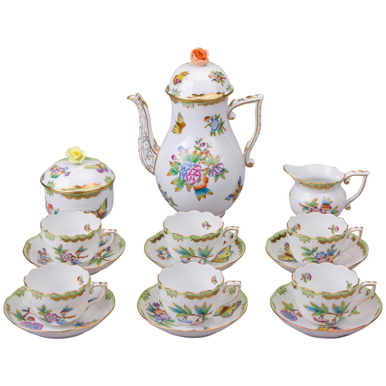 Coffee Art Victoria Herend Queen Victoria Coffee Set For Six Persons At 1stdibs