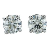 1.42 Carat Diamond Gold Solitaire Stud Earrings at 1stdibs
