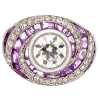 Amethyst Diamond Platinum Engagement Ring at 1stdibs