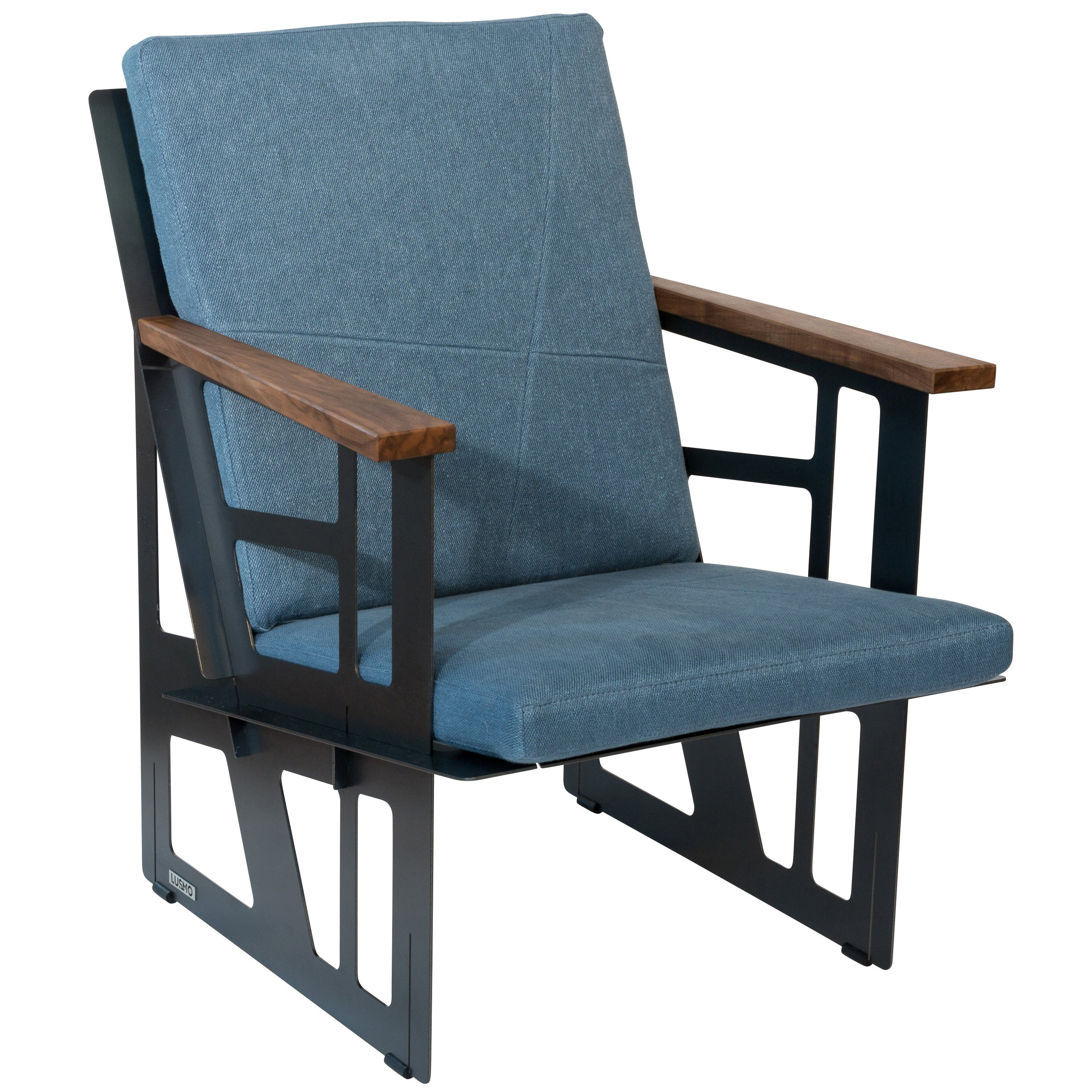 North Camp Stuhl Foldable Industrial Lounge Chair In Steel And Blue Cushion