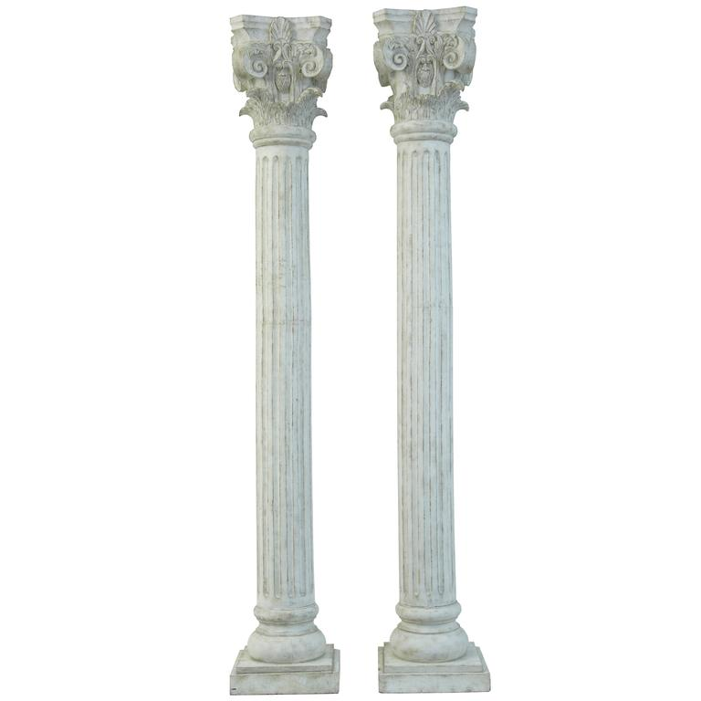 Large Pair of Decorative Carved Wood Corinthian Columns at 1stdibs