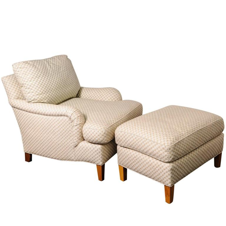 Club Chair And Ottoman With Diamond Star Pattern Cream
