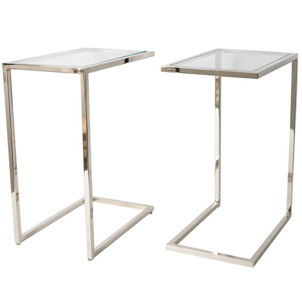 Side Table Glas Pair Of Milo Baughman Quotthin Line Quot Polished Chrome And