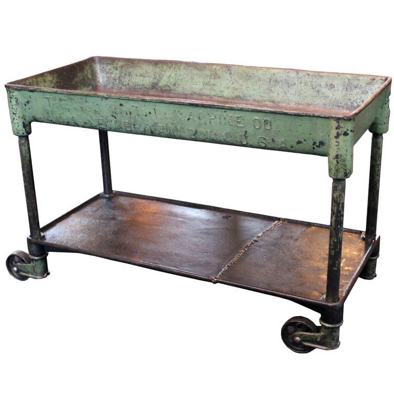 Vintage Industrial Metal Cast Iron Machine Rolling Bar