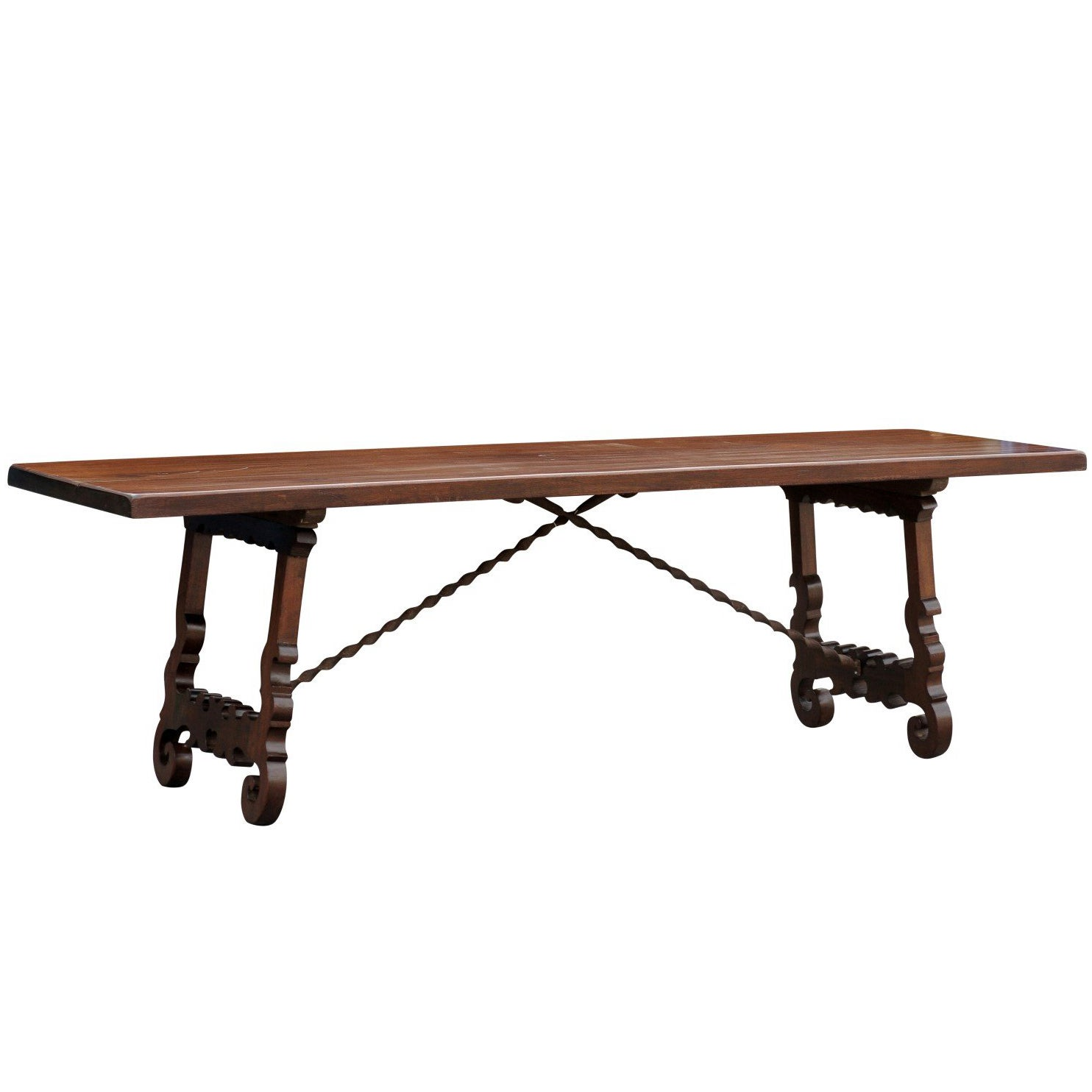 Long Wood Desk 19th Century Italian Baroque Style Long Wooden Trestle Table With Iron Stretcher