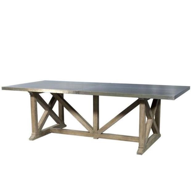 industrial rustic metal top dining table