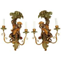 Pair of Two-Arm Wall Light Sconces with Monkey Figures For ...