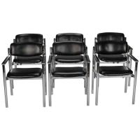 Set of Italian Six Midcentury Steel and Leather Chairs at ...