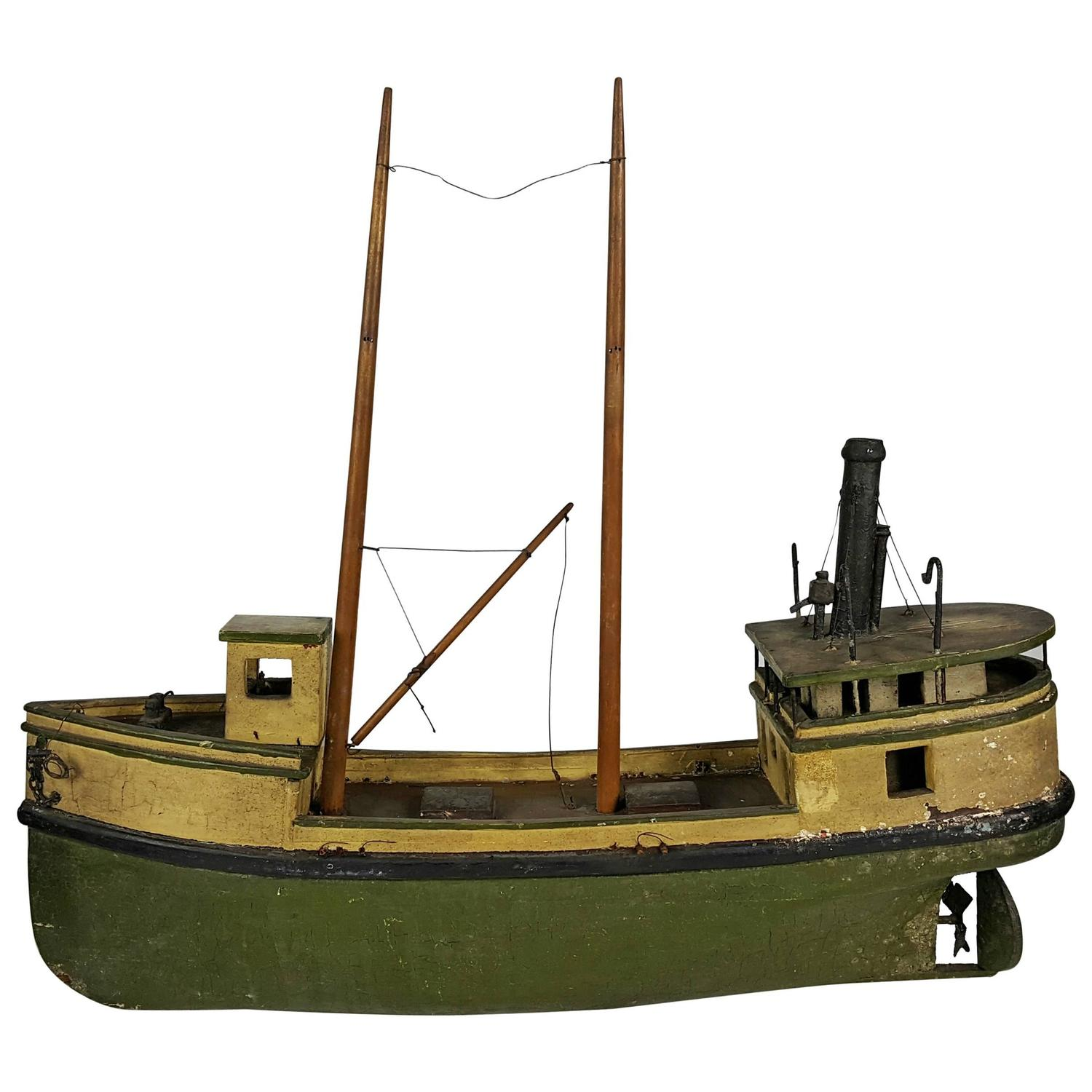 Transparant Zeil Gamma Early 20th Century Hand Built Wooden Folk Art Fishing Boat