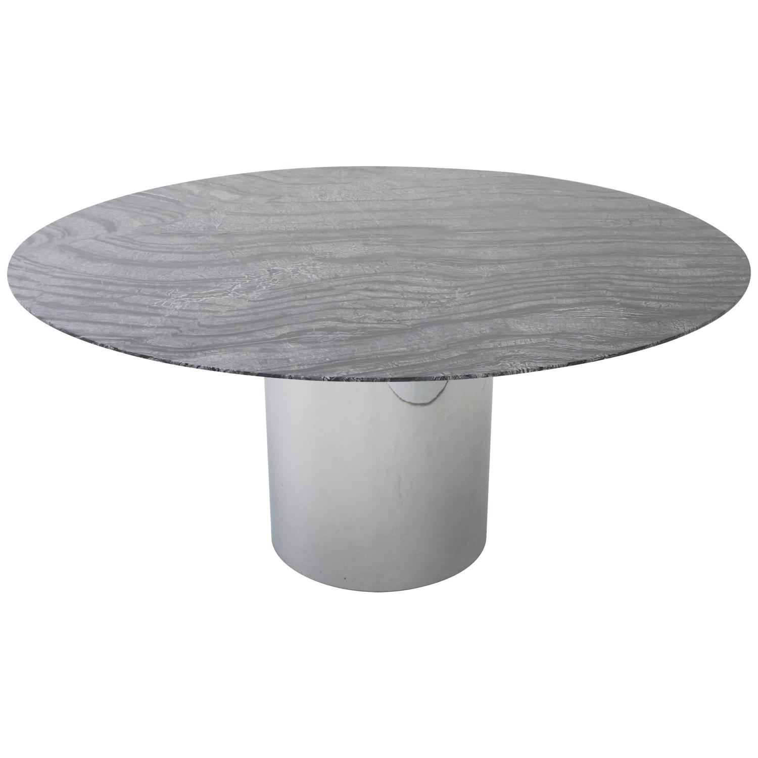 Round Marble Top Dining Table Knoll Dining Table With 60 Quot Round Marble Top At 1stdibs