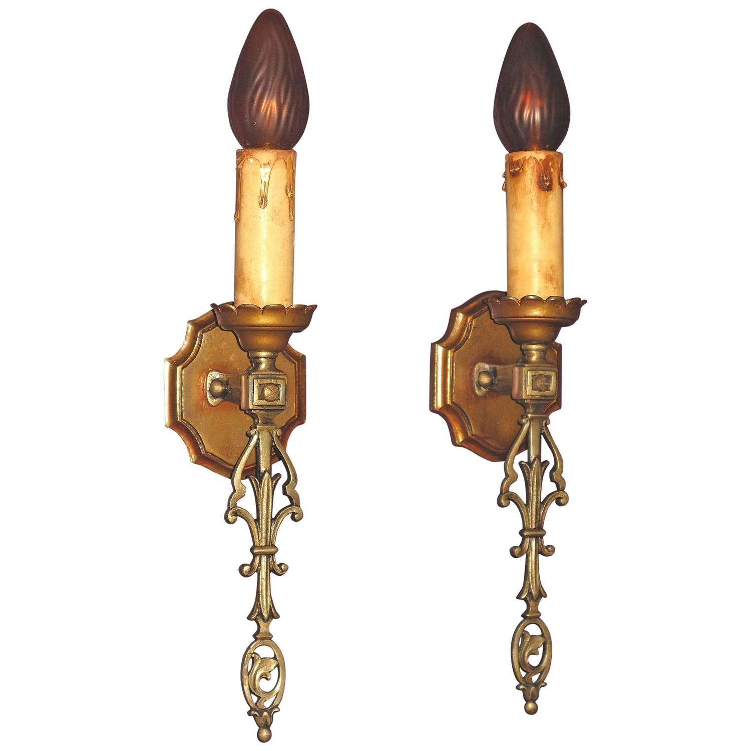 Eclectic Wall Sconces French Eclectic Style Single Bulb Sconces 1920s For Sale