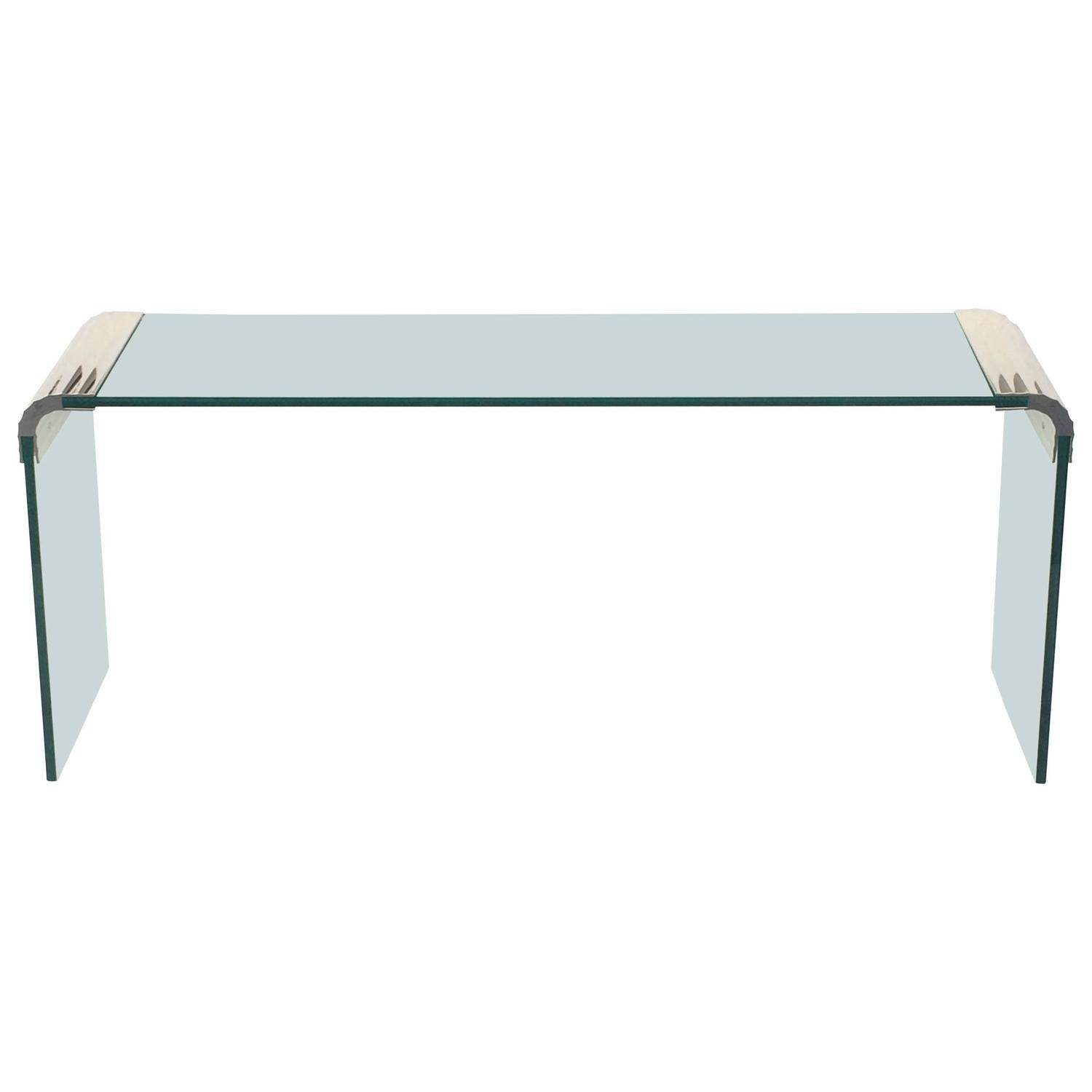 Mesas De Centro De Cristal En El Corte Ingles Scalloped Nickel And Glass Console Table By Leon Rosen For