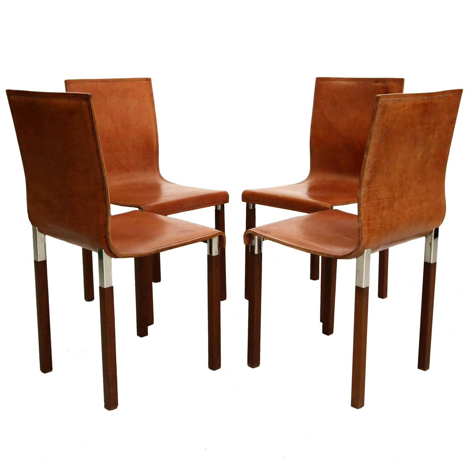 Modern Industrial Chair Set Of Four Leather Emile Industrial Modern Dining Chairs