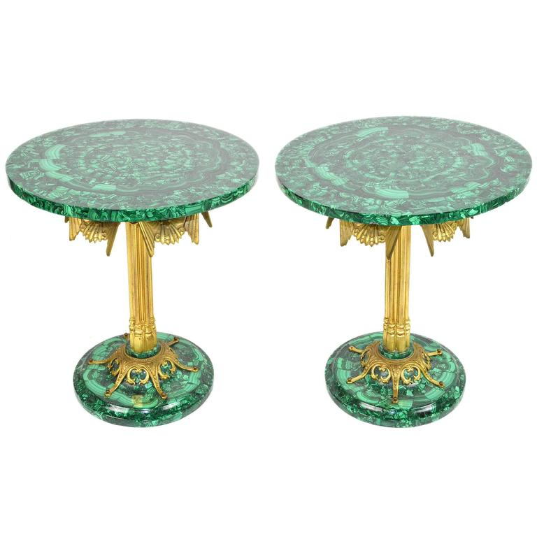 Pair of Deco Style Gilt Bronze and Malachite Side Tables