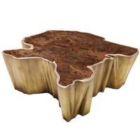 Brabbu Walnut and Brass organic modern Coffee Table, Fifty ...
