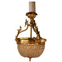 French Bronze and Crystal Basket Chandelier at 1stdibs