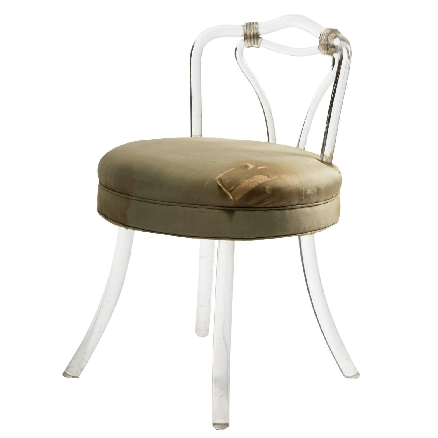 Lucite Vanity Chair 1930s Lucite Vanity Stool At 1stdibs